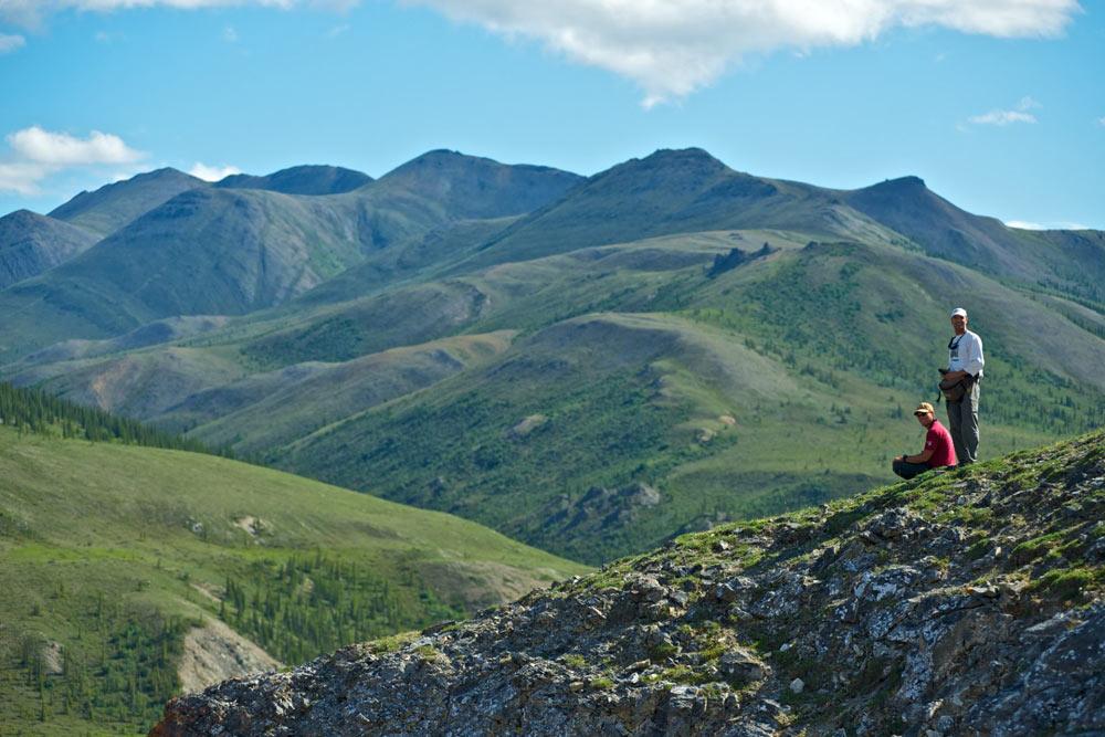 Hikers on ridge, Firth River Rafting, Ivvavik National Park, Yukon Territory.