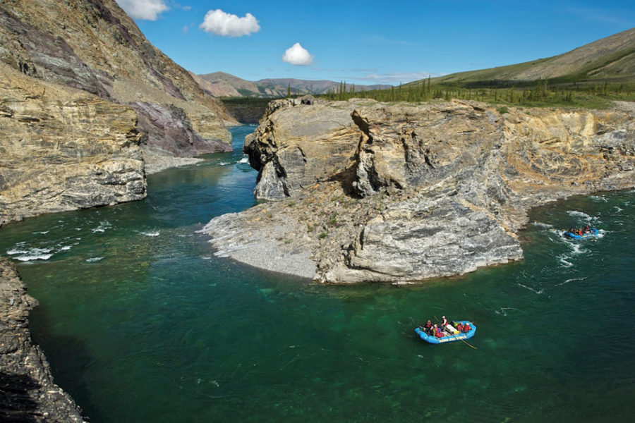 Descending the Firth River through a canyon. Firth River Rafting, Ivvavik National Park, Yukon Territory.