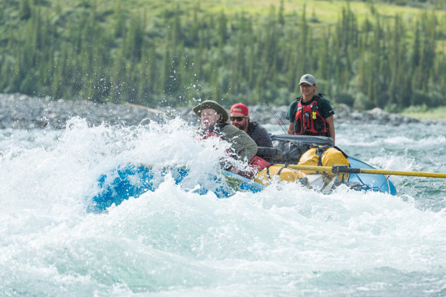 Rafters in large rapids, Firth River Rafting, Ivvavik National Park, Yukon Territory.