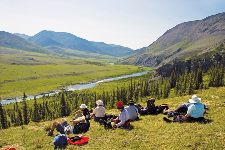 Hikers on ridge, Firth River Rafting, Ivvavik National Park, Yukon Territory.