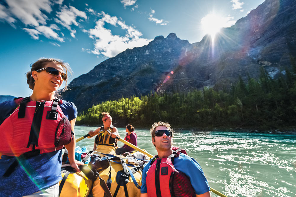 Rafting through Five Mile Canyon on the Nahanni River in Nahanni National Park Preserve.