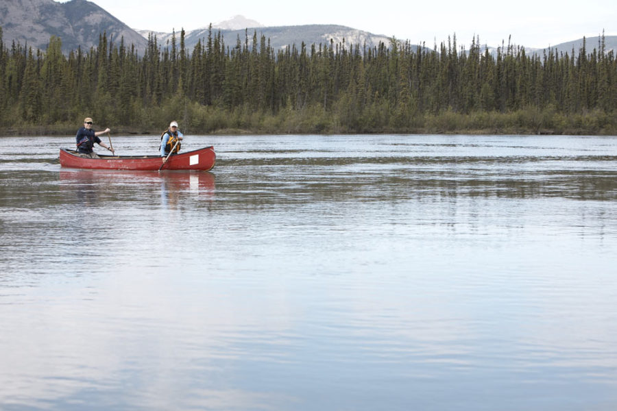 Flatwater Canoeing on the Nahanni River above Virginia Falls.