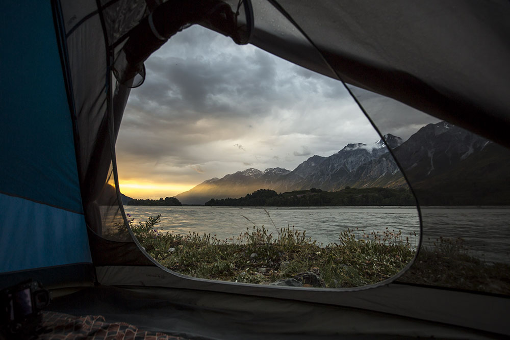 View from tent while camping on the Tatshenshini River.