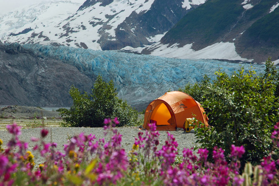 Camp at Walker Glacier, Alsek River, Glacier Bay National Park