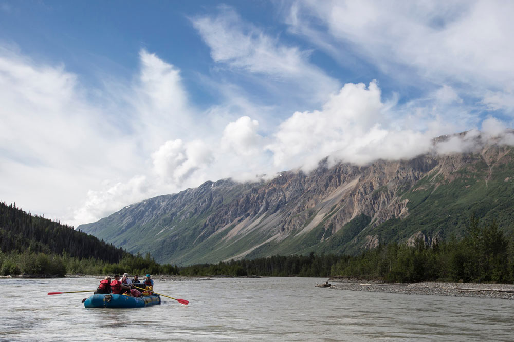 Rafters on the Tatshenshini River, which flows through the Yukon, B.C., Alaska, Glacier Bay National Park, Alsek/Tatshenshini Provincial Park, out to the Gulf of Alaska.