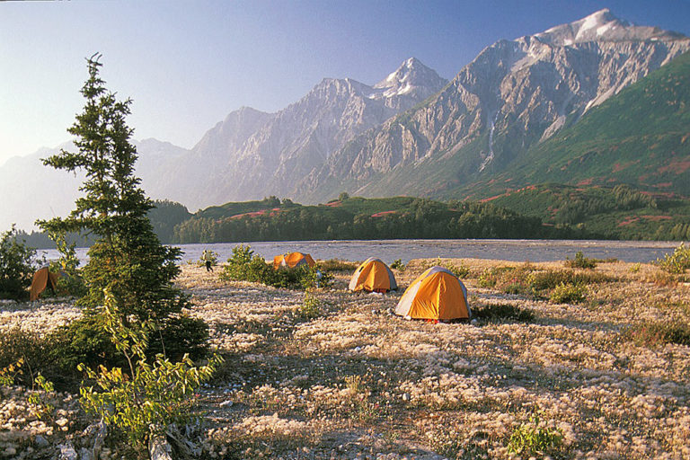 Riverside camping next to the Tatshenshini River on one of our rafting expeditions.