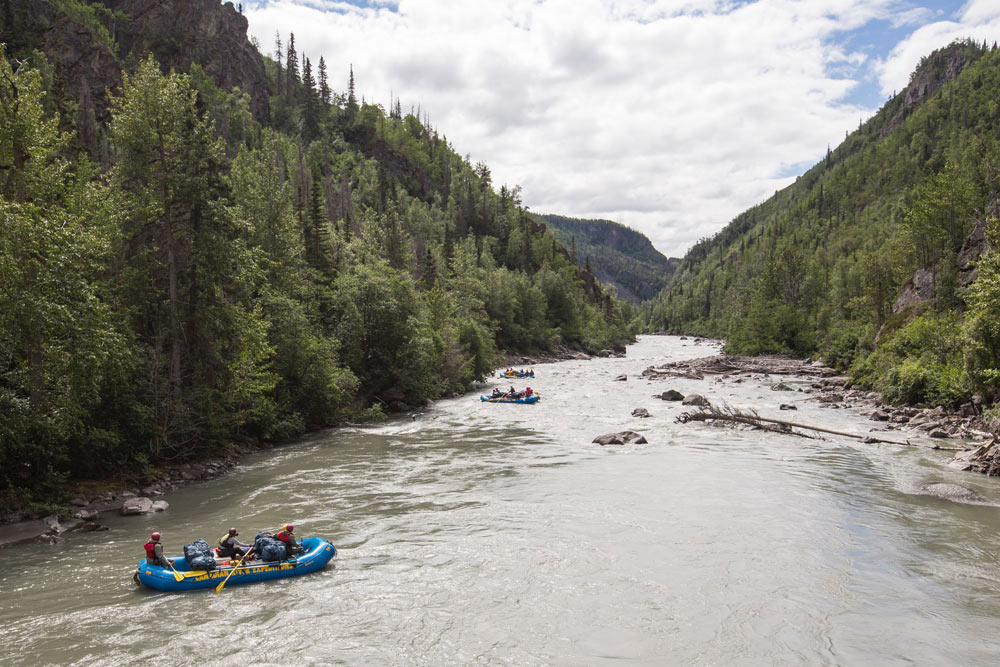 Rafters on the Tatshenshini River, which flows through the Yukon, B.C., Alaska, Glacier Bay National Park, Alsek/Tatshenshini Provincial Park, out to the Gulf of Alaska.