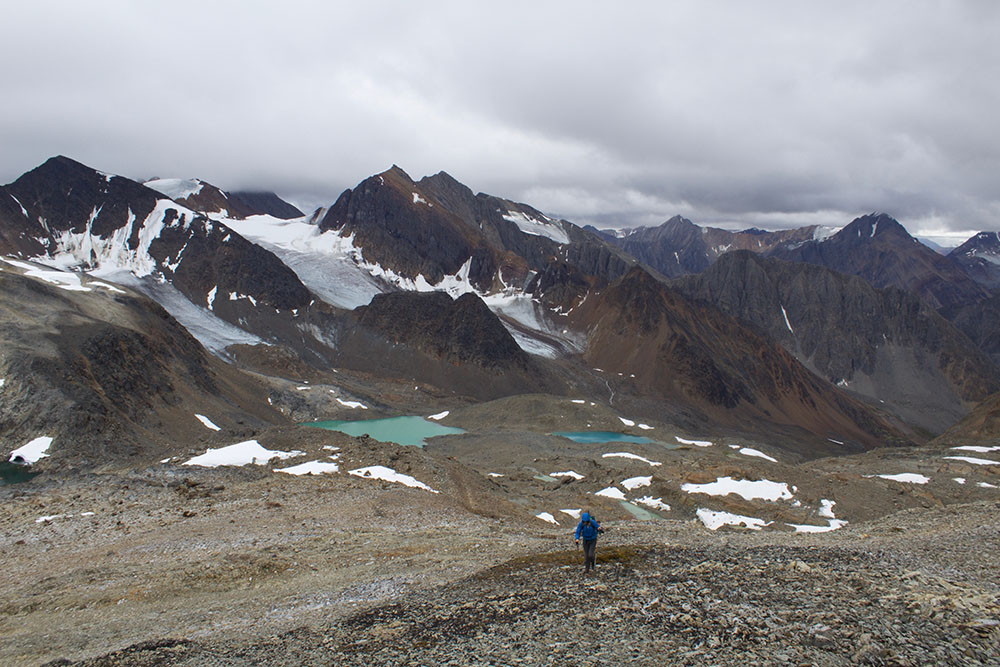 Hiking in the Cirque of the Unclimbables in Nahanni National Park Reserve.