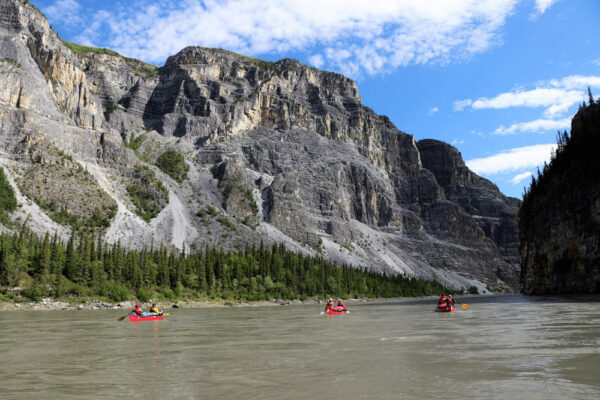 Canoeing through Canada's deepest river canyons on the Nahanni River in Canada's Northwest Territories.