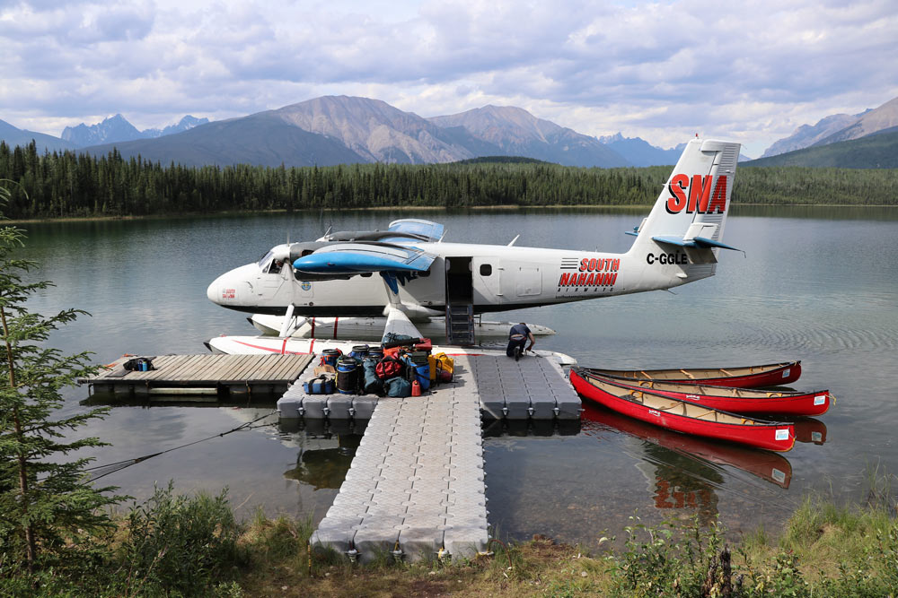Float plane docking on the Nahanni River.