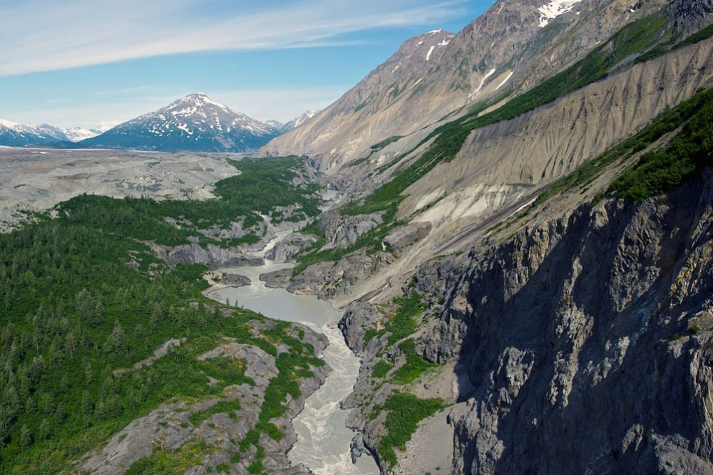 Ariel view of Turnback Canyon on the Alsek River.