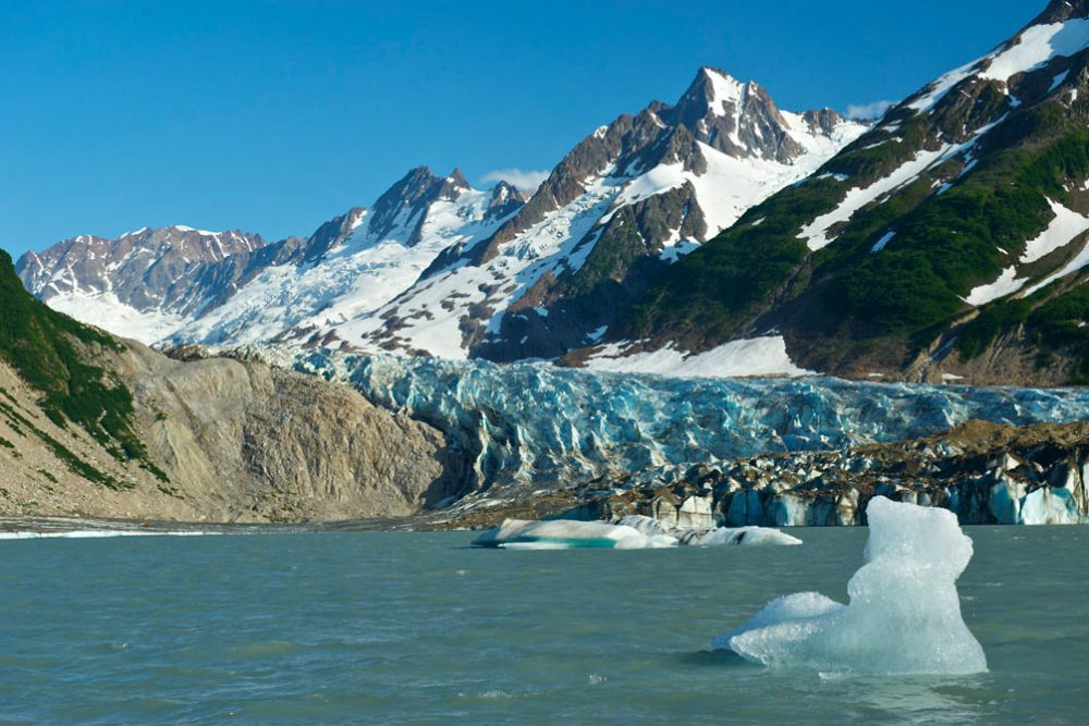 A stunning view of a glacier on our Alsek River Rafting Expedition.