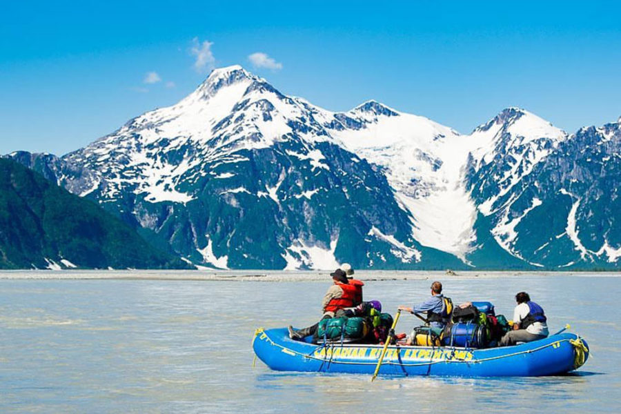 Rafting the Alsek River, which is renowned for large rapids, dramatic mountain valleys and glaciers, and is a true wilderness treasure.