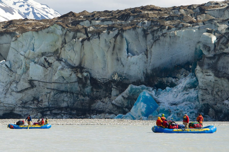 Rafting past a glacier on our Alsek River Rafting Expedition.