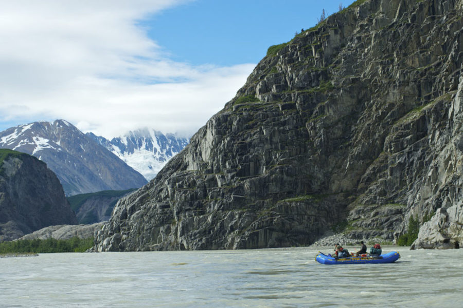 Rafters on the Alsek River, which flows through the Yukon, British Columbia, Alaska, Glacier Bay National Park, Tatshenshini-Alsek Provincial Park, to its denouement at the Gulf of Alaska