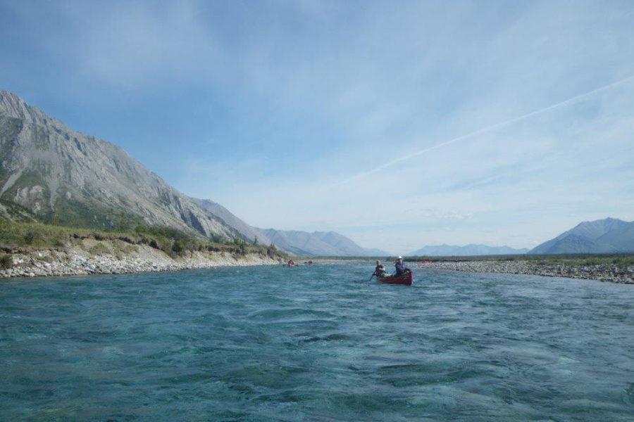 Canoeing the Wind River, Yukon Territory, in the Peel Watershed.