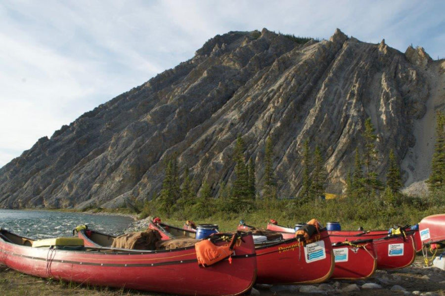 Canoes on the Wind River, Yukon Territory, in the Peel Watershed.