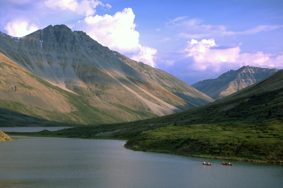 Paddlers on the Wind River, Yukon Territory, in the Peel Watershed.