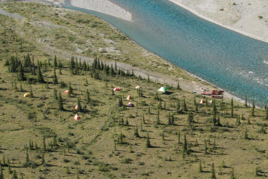 Campsite on the Wind River, Yukon Territory, in the Peel Watershed.
