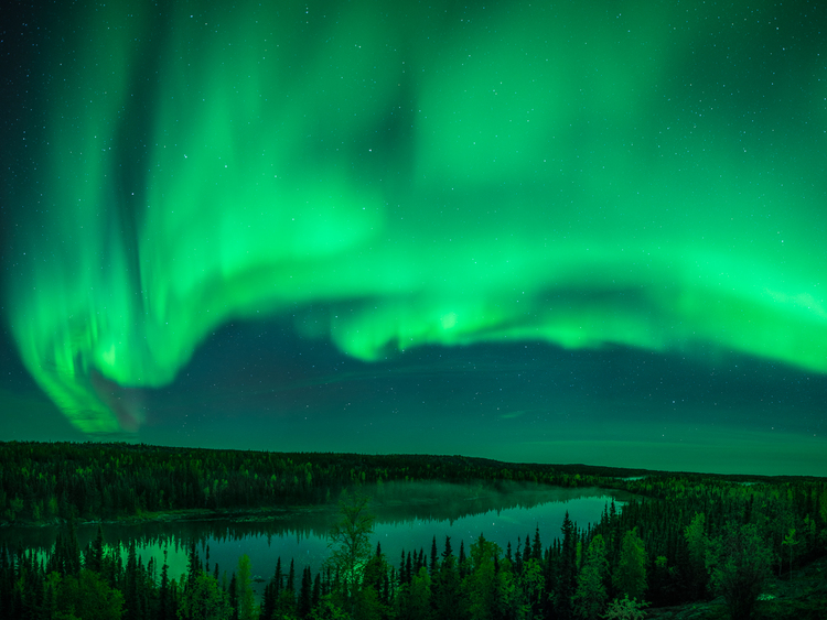 Northern Lights over a lake in the Northwest Territories