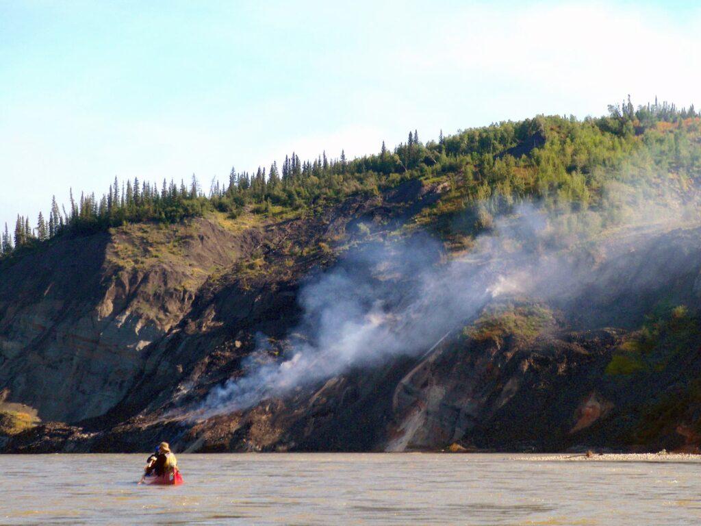 Smoking cliffs on the Wind River, Yukon.